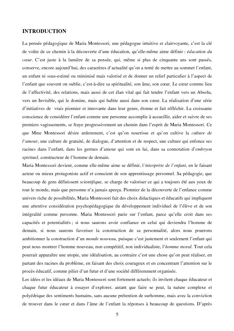 Anteprima della tesi: L'éducation du cœur dans la pensée pédagogique de Maria Montessori, Pagina 1