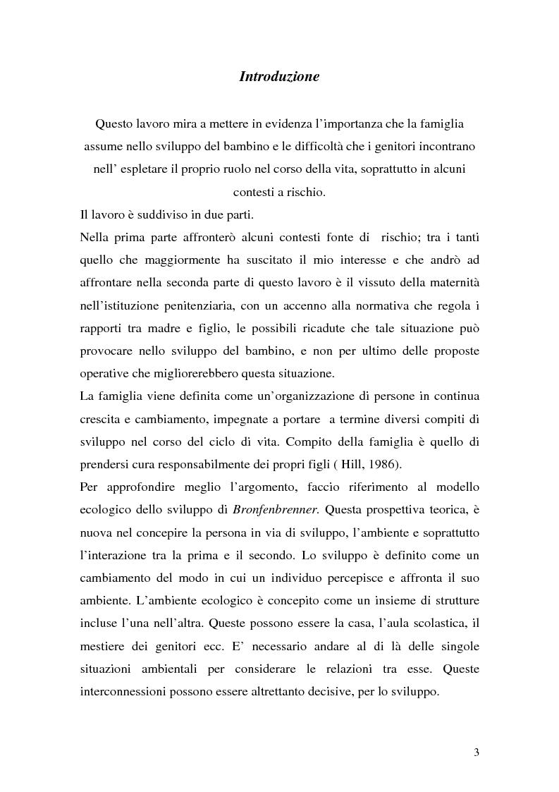 Anteprima della tesi: Complessità della funzione genitoriale in contesti a rischio: la maternità in carcere, Pagina 1