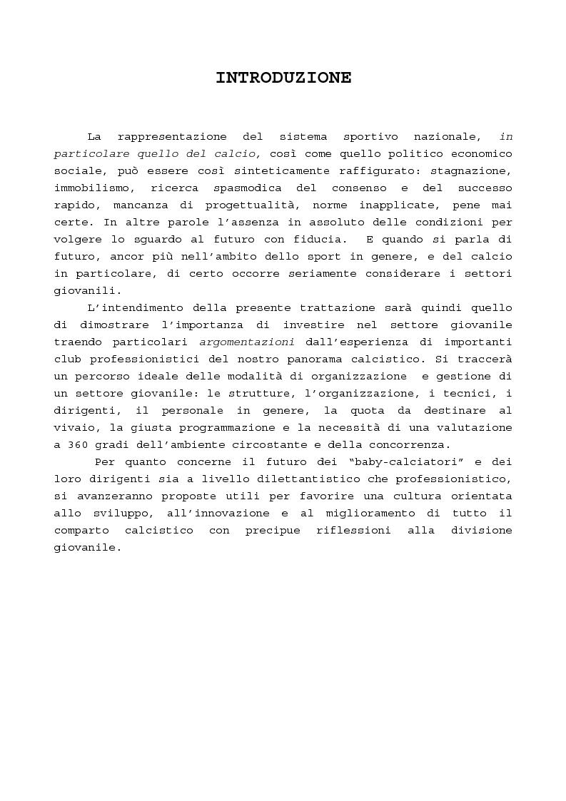 Anteprima della tesi: Il gioco del calcio: investire nel settore giovanile, il valore aggiunto per il club, Pagina 1