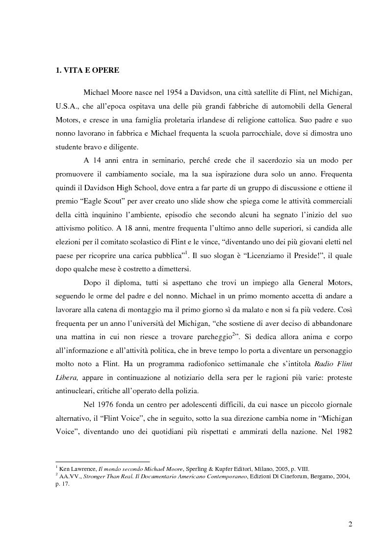 Anteprima della tesi: Michael Moore. Tra spettacolo e realtà, Pagina 1