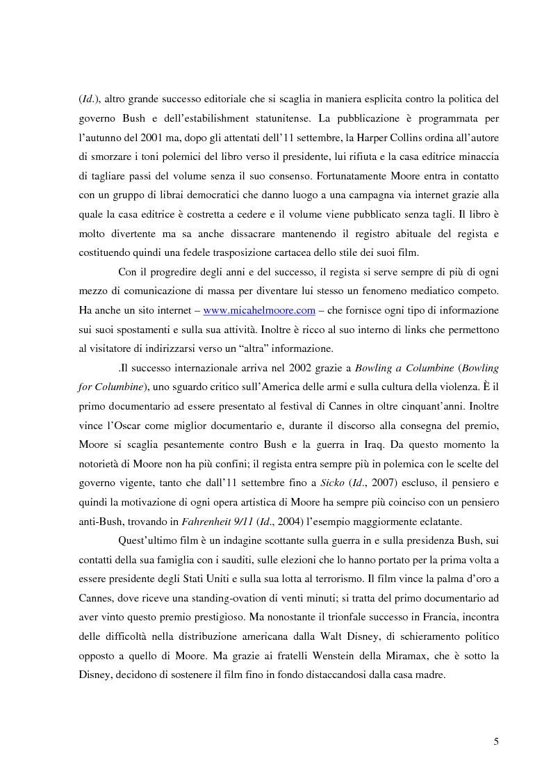 Anteprima della tesi: Michael Moore. Tra spettacolo e realtà, Pagina 4