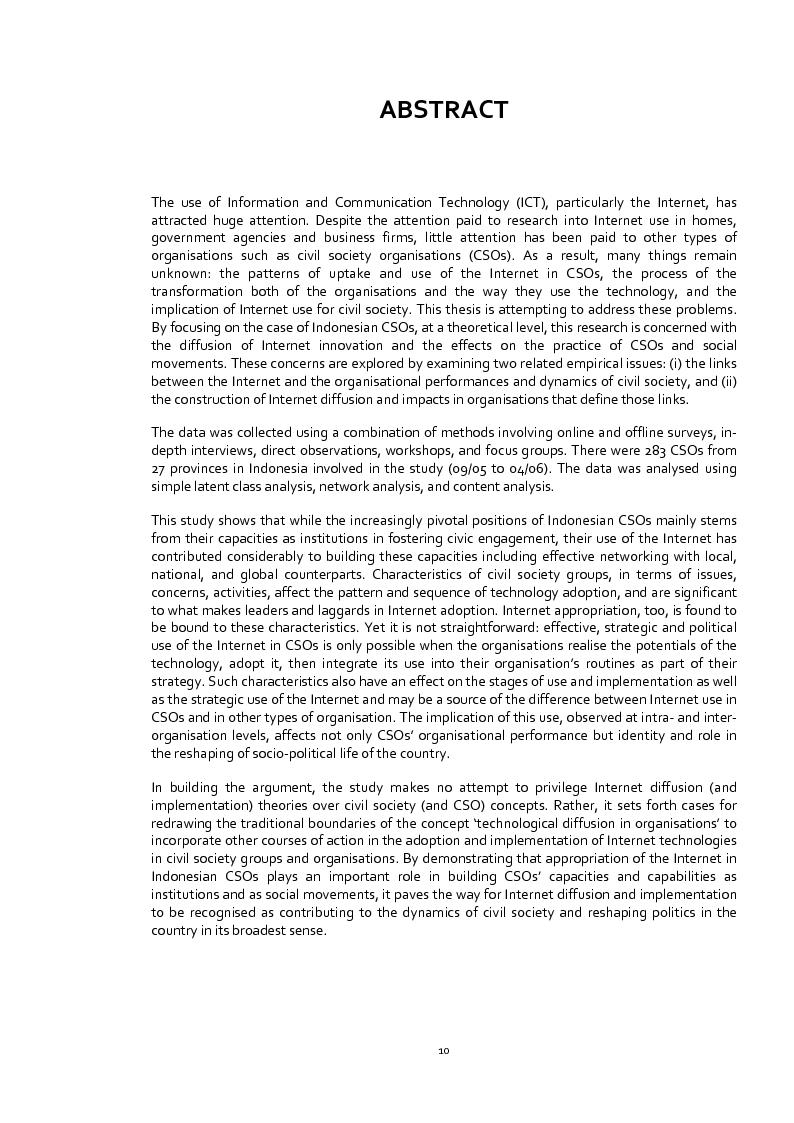 Anteprima della tesi: Does the Internet Transform Civil Society? The Case of Civil Society Organisations in Indonesia, Pagina 1