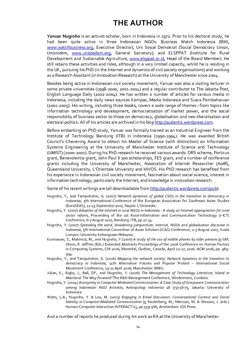 Anteprima della tesi: Does the Internet Transform Civil Society? The Case of Civil Society Organisations in Indonesia, Pagina 5