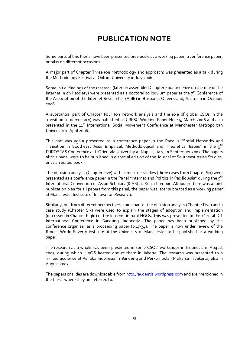 Anteprima della tesi: Does the Internet Transform Civil Society? The Case of Civil Society Organisations in Indonesia, Pagina 6