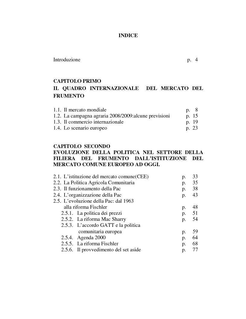 Indice della tesi: La filiera del frumento in Italia: i principali aspetti economici, Pagina 1