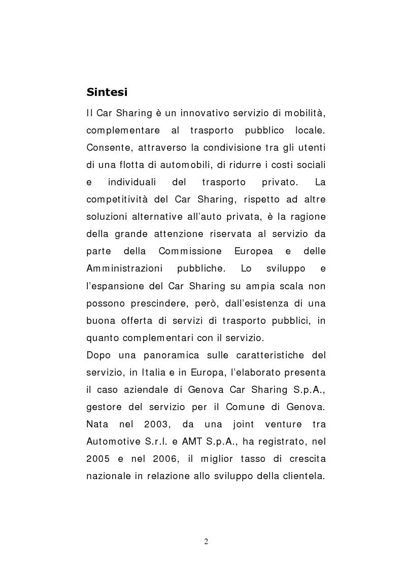Anteprima della tesi: Il car sharing in Italia. Il caso di Genova Car Sharing, Pagina 1