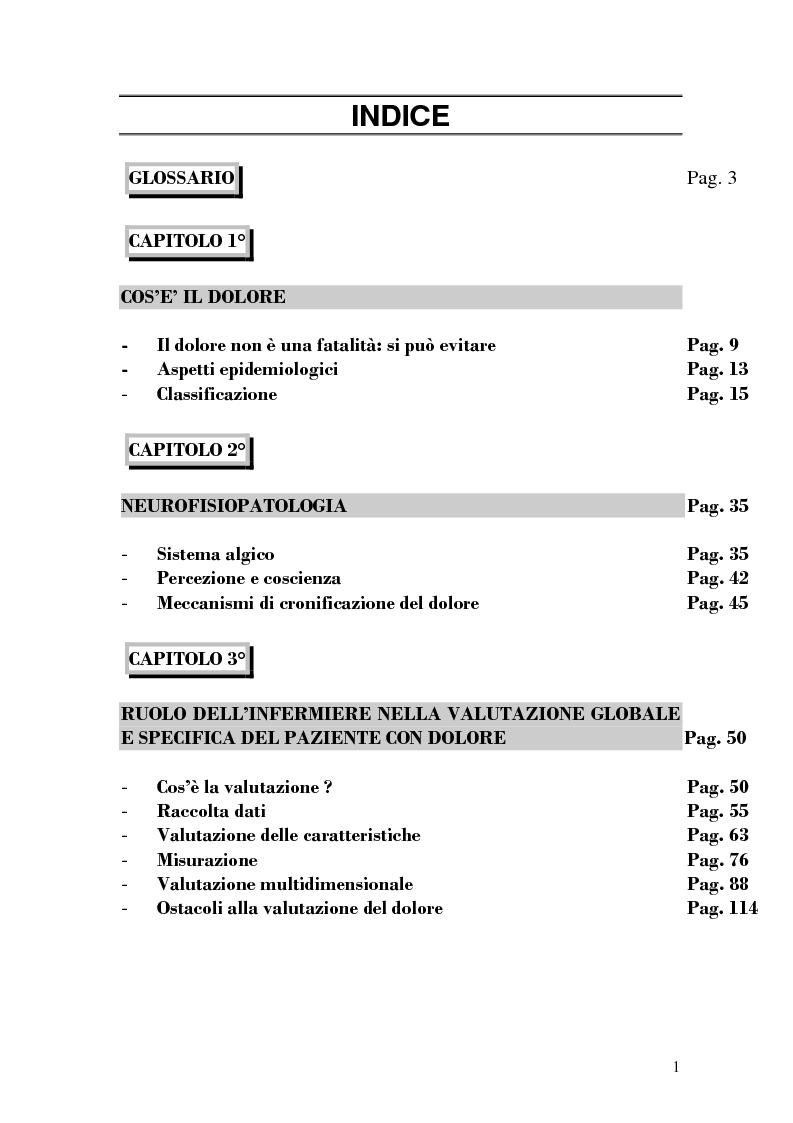 Indice della tesi: Assistenza al paziente con dolore cronico, Pagina 1