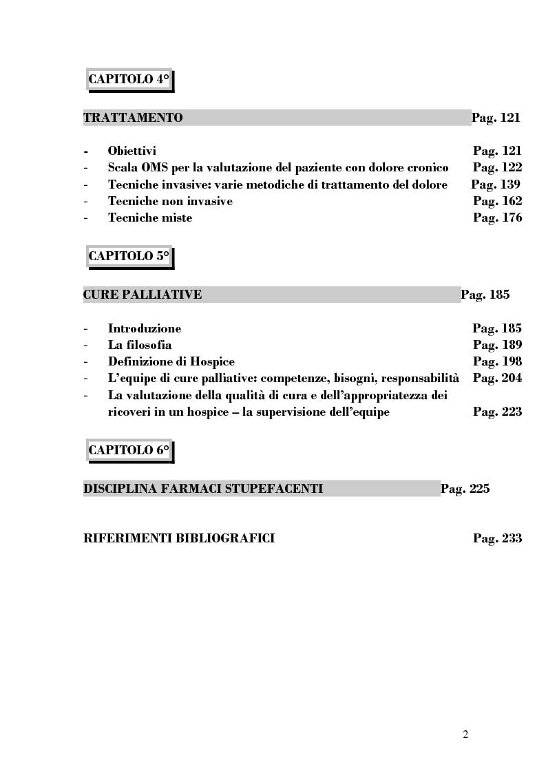 Indice della tesi: Assistenza al paziente con dolore cronico, Pagina 2
