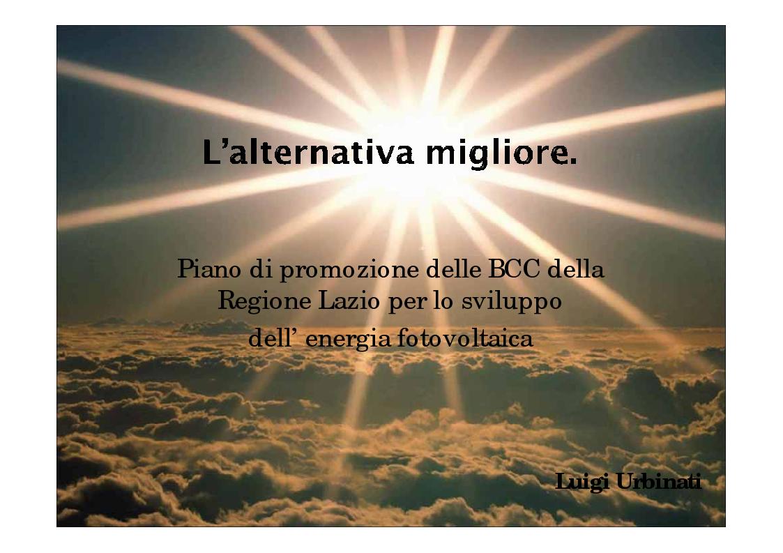 Anteprima della tesi: Piano di promozione delle BCC della Regione Lazio per lo sviluppo dell'energia fotovoltaica, Pagina 1