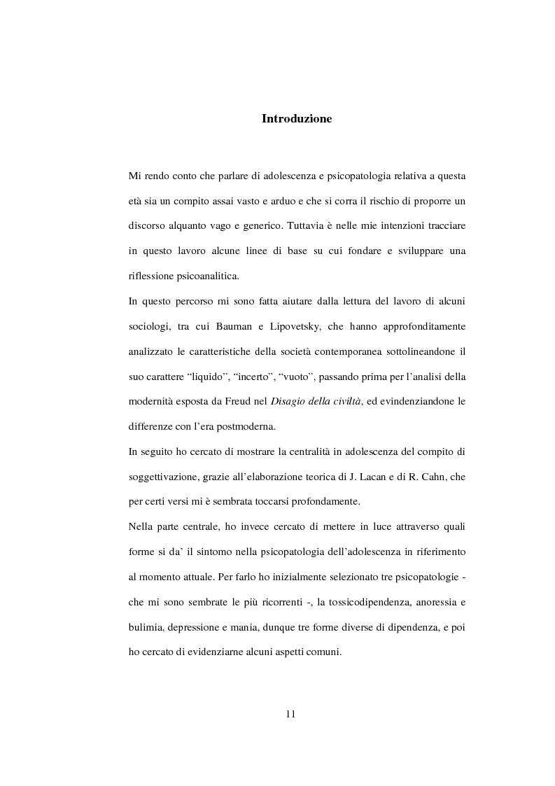 Anteprima della tesi: Postmodernità: adolescenza e nuove forme psicopatologiche - Riflessioni sul carattere sovversivo della psicoanalisi, Pagina 1