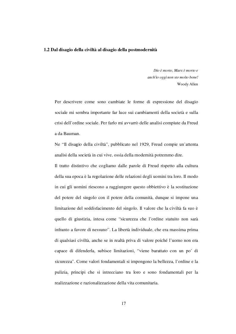 Anteprima della tesi: Postmodernità: adolescenza e nuove forme psicopatologiche - Riflessioni sul carattere sovversivo della psicoanalisi, Pagina 7