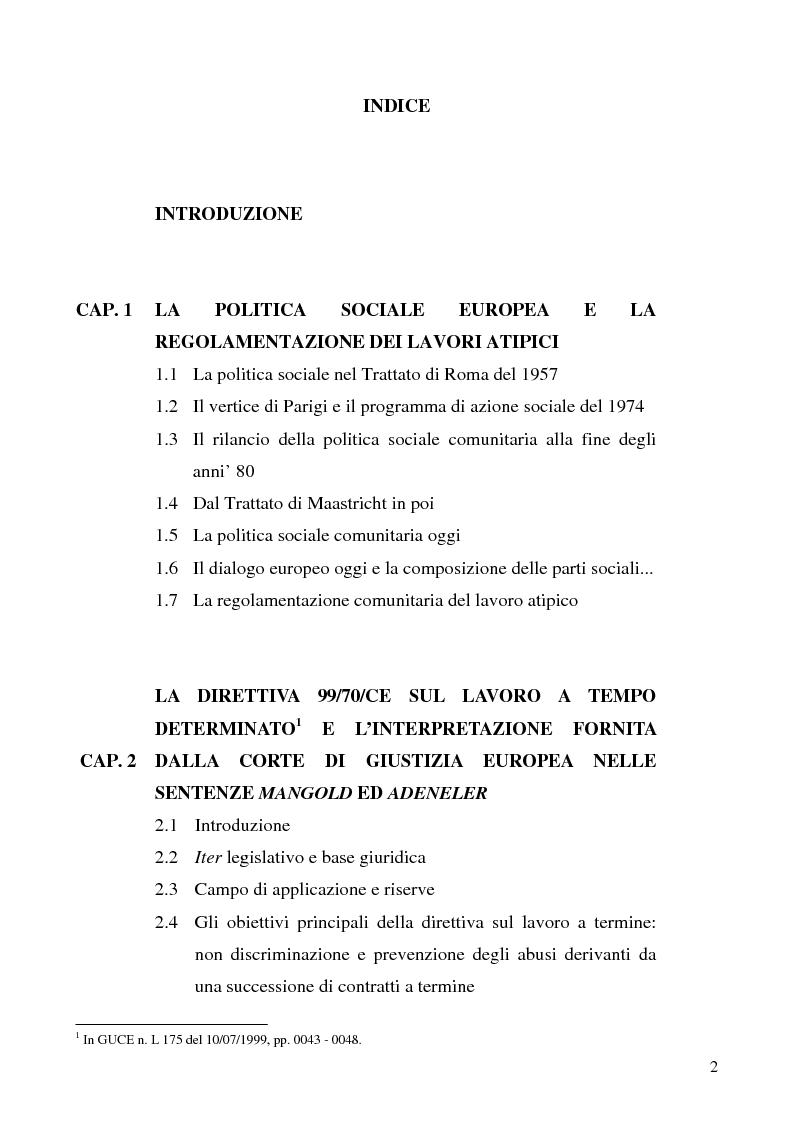 Indice della tesi: Lavoro a tempo determinato fra vincoli comunitari e disciplina interna: problemi aperti, Pagina 1