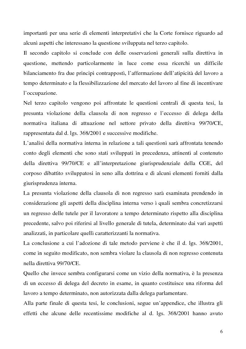 Anteprima della tesi: Lavoro a tempo determinato fra vincoli comunitari e disciplina interna: problemi aperti, Pagina 2