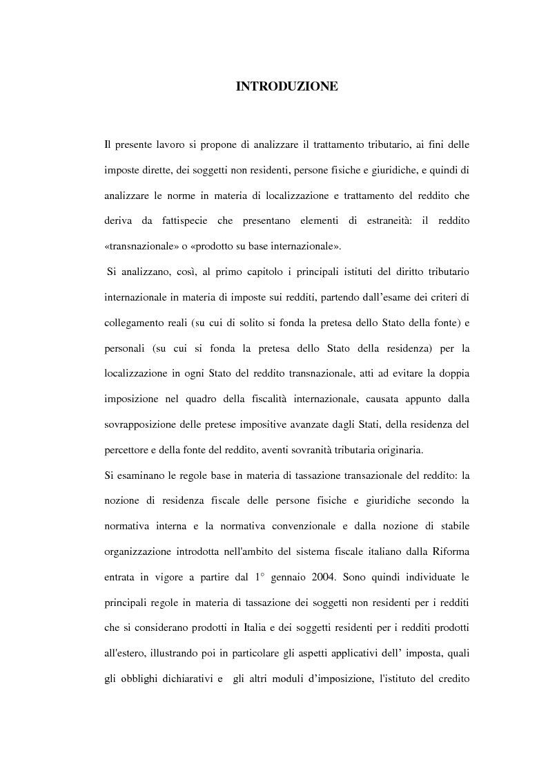 Anteprima della tesi: La tassazione dei soggetti non residenti, Pagina 1