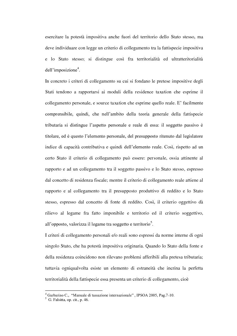 Anteprima della tesi: La tassazione dei soggetti non residenti, Pagina 6