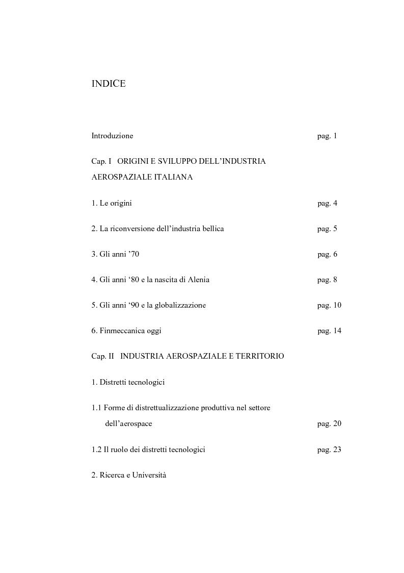 Indice della tesi: L'industria aerospaziale in Italia: un'analisi geografica, Pagina 1