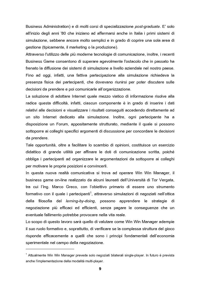 Anteprima della tesi: Analisi e validazione secondo i principi dell'economia sperimentale di un gioco di contrattazione online: Win Win Manager, Pagina 2