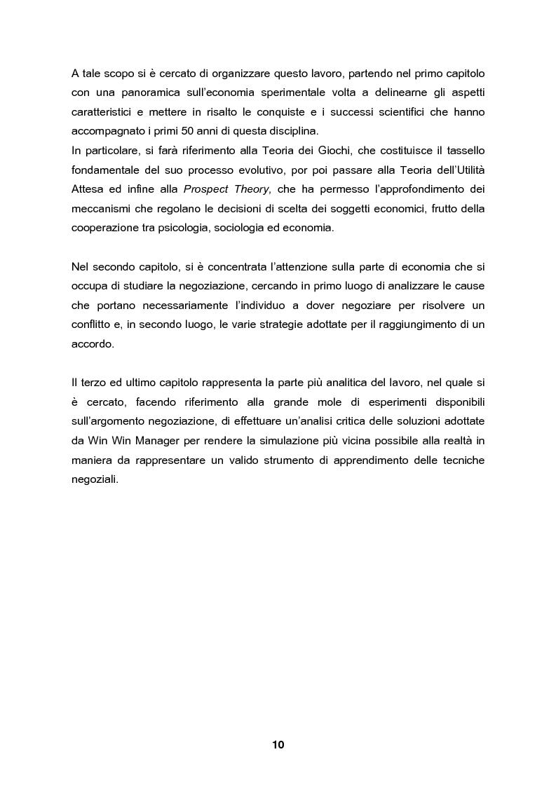 Anteprima della tesi: Analisi e validazione secondo i principi dell'economia sperimentale di un gioco di contrattazione online: Win Win Manager, Pagina 3
