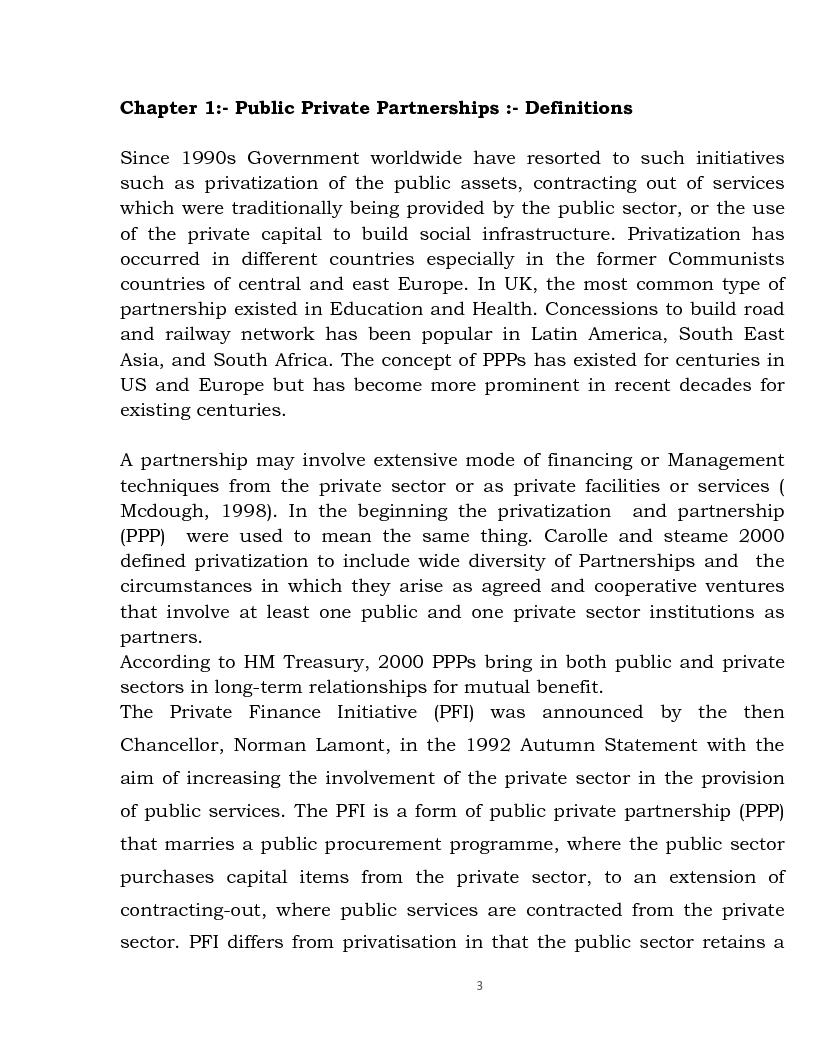 Anteprima della tesi: Public Private Partnership: an Overview, Pagina 1