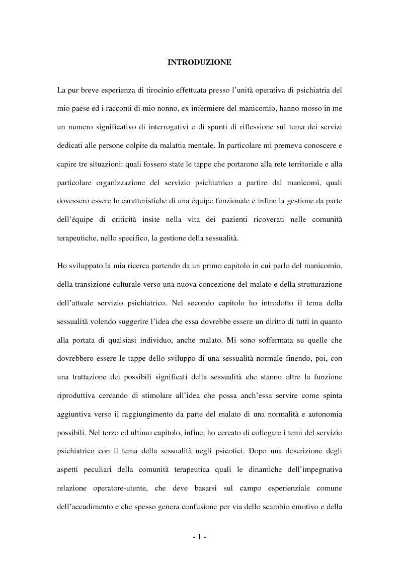 Anteprima della tesi: Il lavoro d'équipe e la gestione della sessualità nella comunità terapeutica psichiatrica, Pagina 1