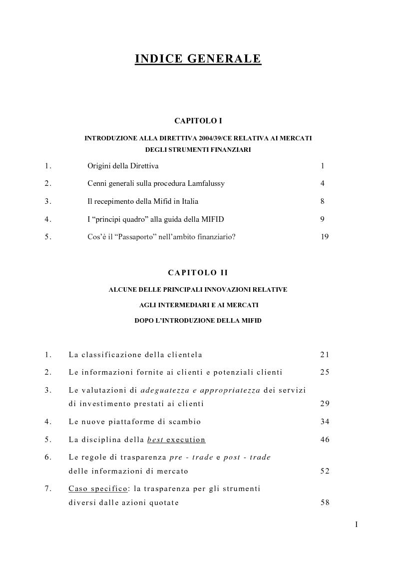 Indice della tesi: La riorganizzazione delle banche per l'applicazione della Mifid, Pagina 1
