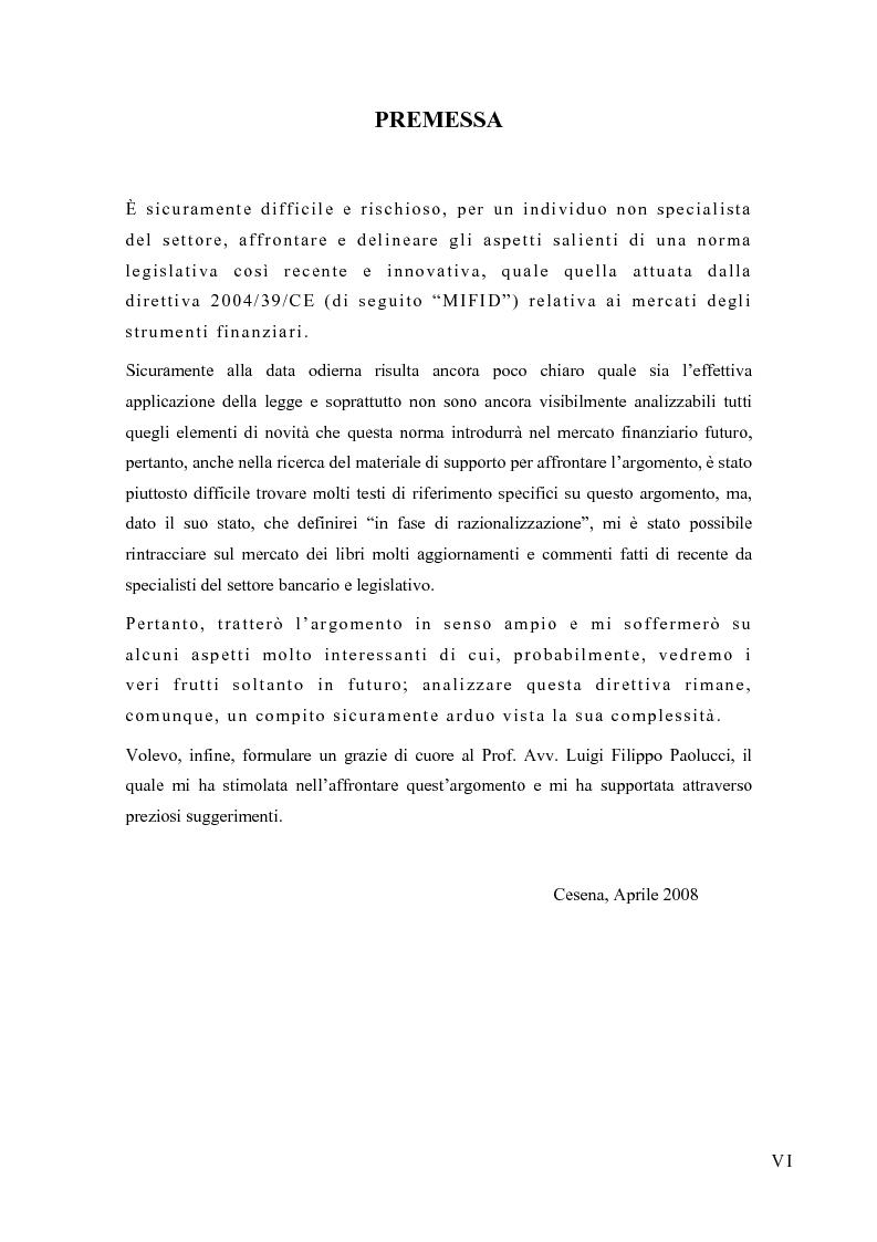 Anteprima della tesi: La riorganizzazione delle banche per l'applicazione della Mifid, Pagina 1