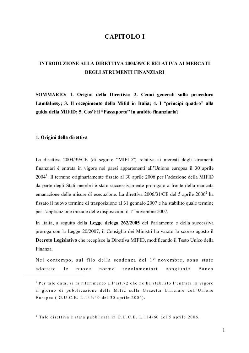 Anteprima della tesi: La riorganizzazione delle banche per l'applicazione della Mifid, Pagina 2