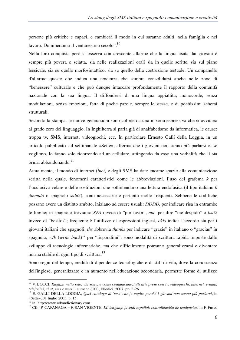 Anteprima della tesi: Lo slang degli SMS italiani e spagnoli: comunicazione e creatività, Pagina 3