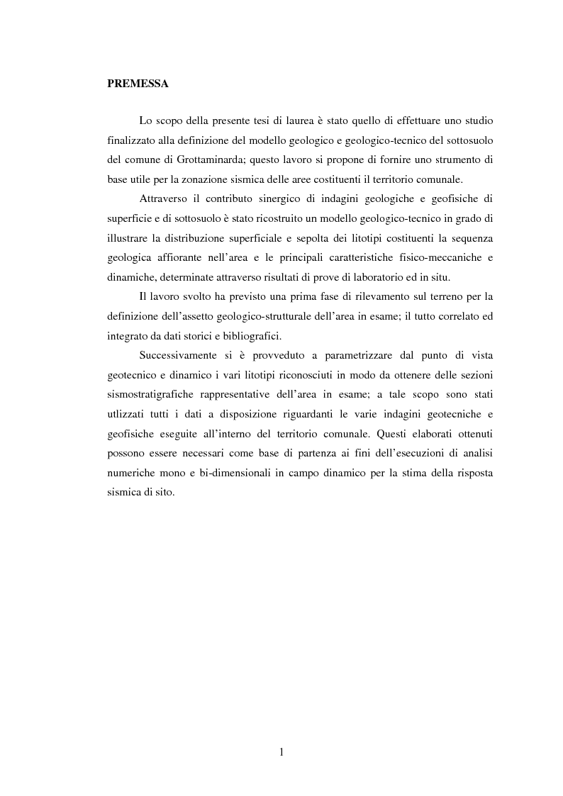 Anteprima della tesi: Studi geologici per la microzonazione sismica del comune di Grottaminarda (AV), Pagina 1