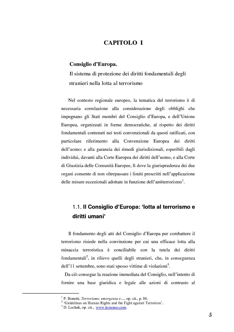 Anteprima della tesi: Terrorismo e stranieri: il giusto equilibrio tra libertà e sicurezza nella giurisprudenza della Corte Europea dei diritti dell'uomo, Pagina 5