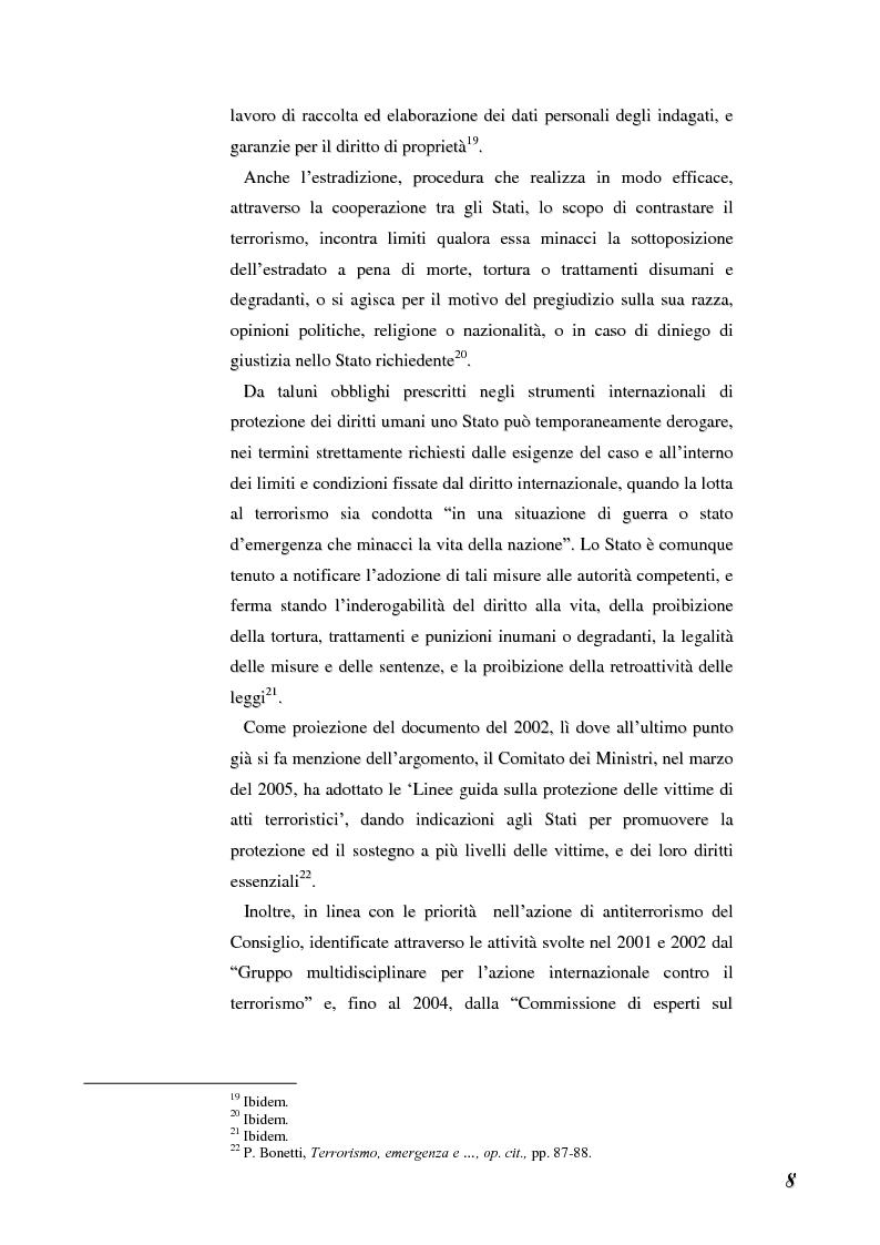 Anteprima della tesi: Terrorismo e stranieri: il giusto equilibrio tra libertà e sicurezza nella giurisprudenza della Corte Europea dei diritti dell'uomo, Pagina 8
