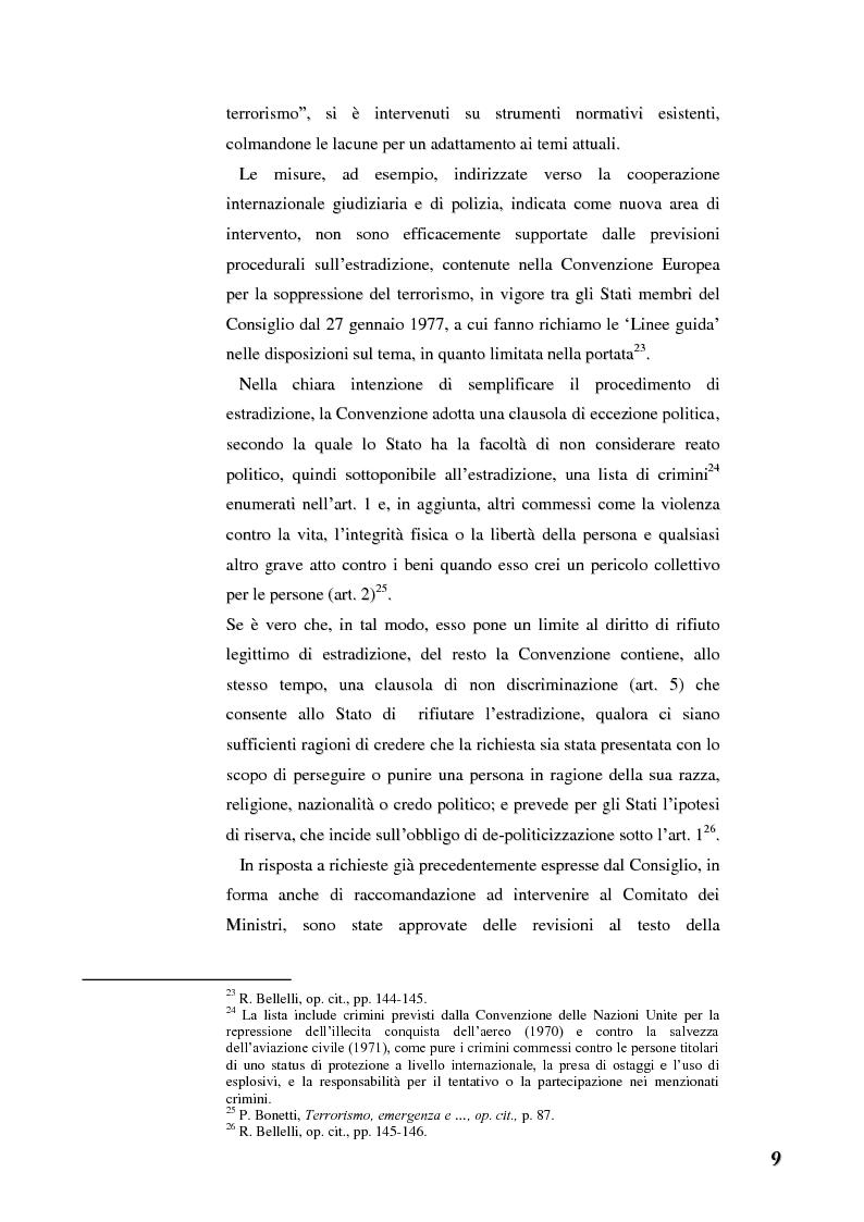 Anteprima della tesi: Terrorismo e stranieri: il giusto equilibrio tra libertà e sicurezza nella giurisprudenza della Corte Europea dei diritti dell'uomo, Pagina 9