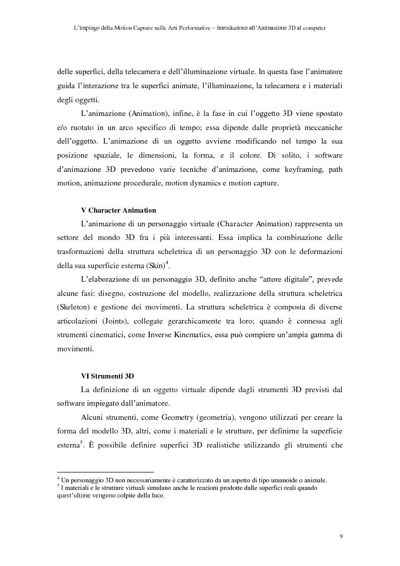 Anteprima della tesi: L'impiego della motion capture nelle arti performative - Introduzione all'animazione 3D al computer, Pagina 5