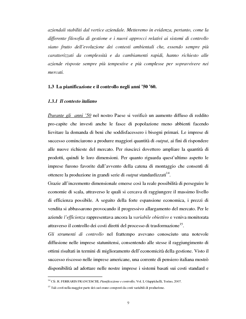 Anteprima della tesi: Il percorso evolutivo della pianificazione e del controllo: verso un sistema unico, Pagina 8