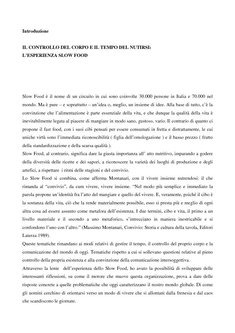 Anteprima della tesi: Il controllo del corpo e il tempo del nutrirsi: l'esperienza Slow Food, Pagina 1