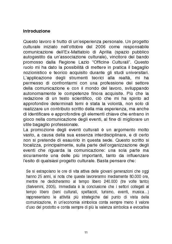 Anteprima della tesi: Officine culturali - La promozione degli eventi di spettacolo: contesti, strategie, strumenti, Pagina 1