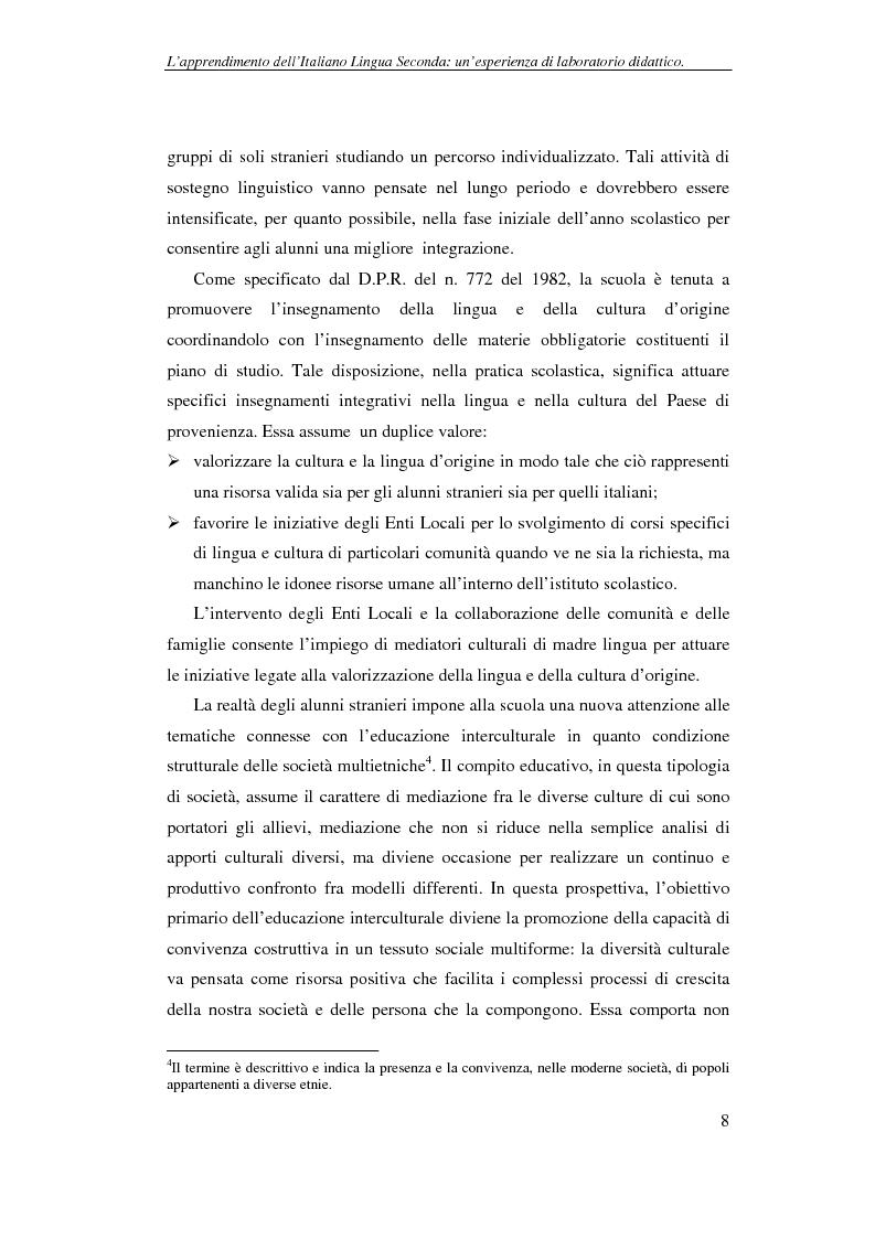 Anteprima della tesi: Didattica delle lingue moderne - L'apprendimento dell'italiano lingua seconda: un'esperienza di laboratorio didattico, Pagina 8