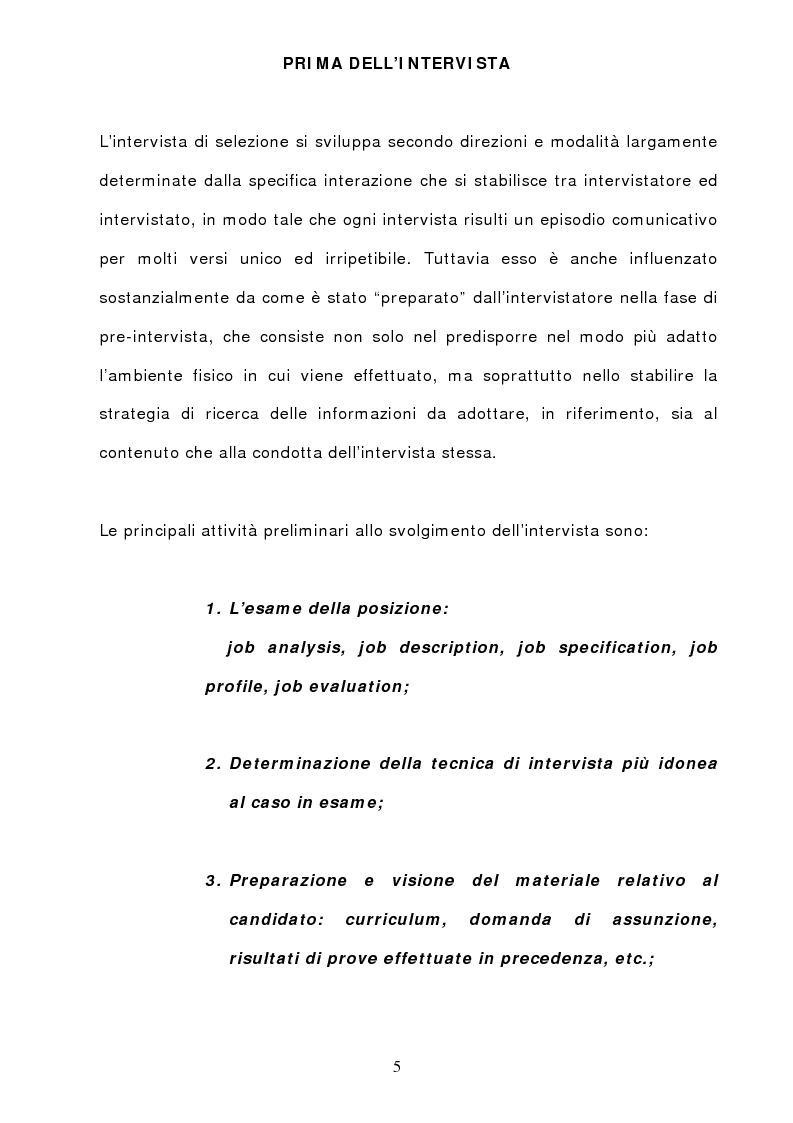 Anteprima della tesi: L'Intervista di selezione semistrutturata: metodi e tecniche di attuazione, Pagina 4