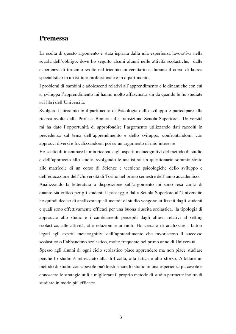 Anteprima della tesi: Approccio e metodi di studio nella transizione all'Università: una ricerca su un gruppo di studenti frequentanti il primo anno di Psicologia a Torino, Pagina 1