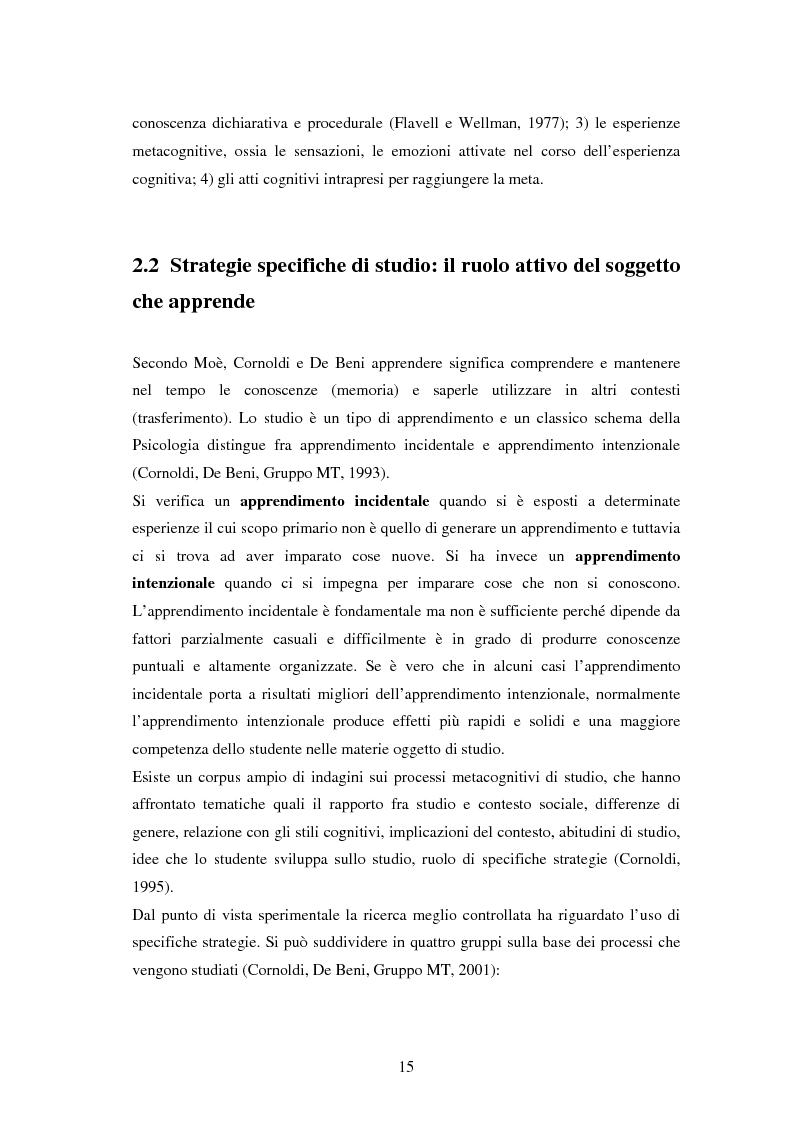 Anteprima della tesi: Approccio e metodi di studio nella transizione all'Università: una ricerca su un gruppo di studenti frequentanti il primo anno di Psicologia a Torino, Pagina 13