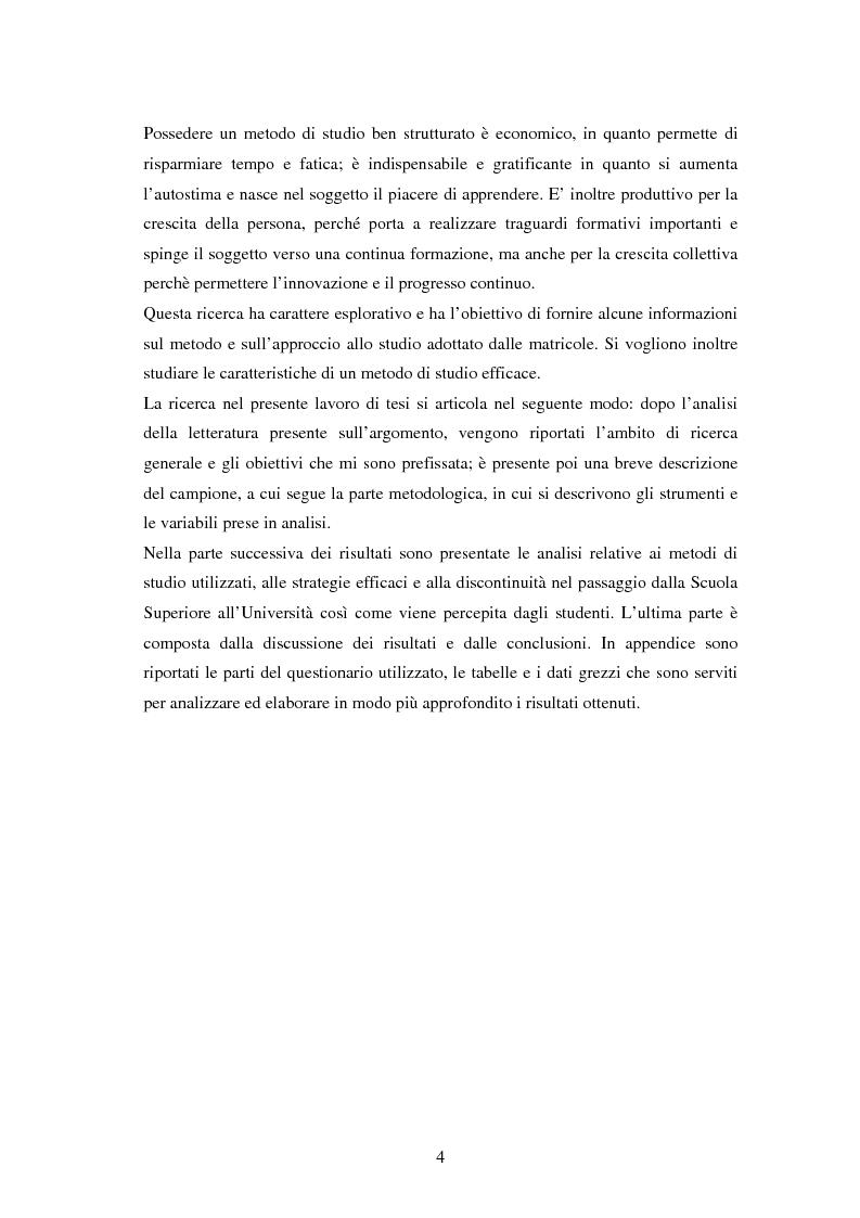 Anteprima della tesi: Approccio e metodi di studio nella transizione all'Università: una ricerca su un gruppo di studenti frequentanti il primo anno di Psicologia a Torino, Pagina 2