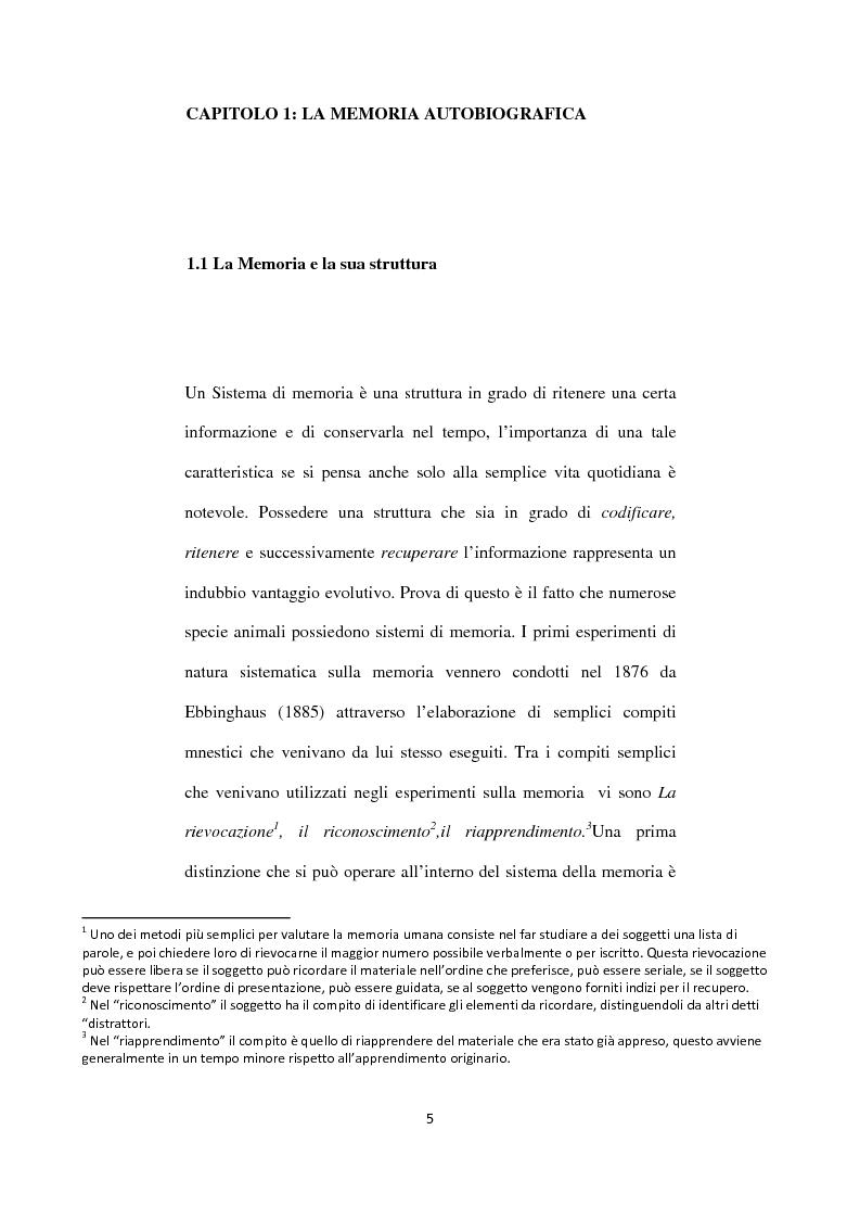 Anteprima della tesi: Memoria autobiografica e adolescenza: l'overgenerality, Pagina 1