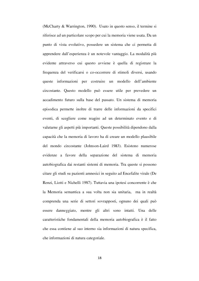 Anteprima della tesi: Memoria autobiografica e adolescenza: l'overgenerality, Pagina 14