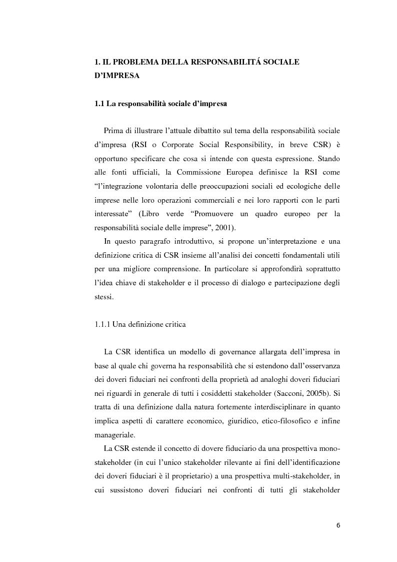 Anteprima della tesi: La gestione della crisi nella responsabilità sociale d'impresa. Due casi a confronto, Pagina 6