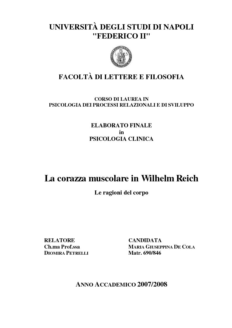 Anteprima della tesi: La corazza caratteriale/muscolare in Wilhelm Reich: le ragioni del corpo, Pagina 1