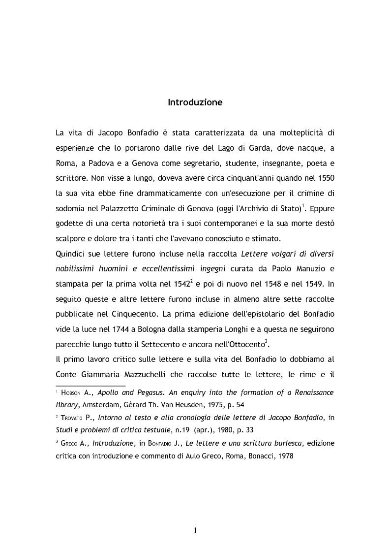 Anteprima della tesi: Jacopo Bonfadio. Le avverse fortune di un umanista del Cinquecento, Pagina 1