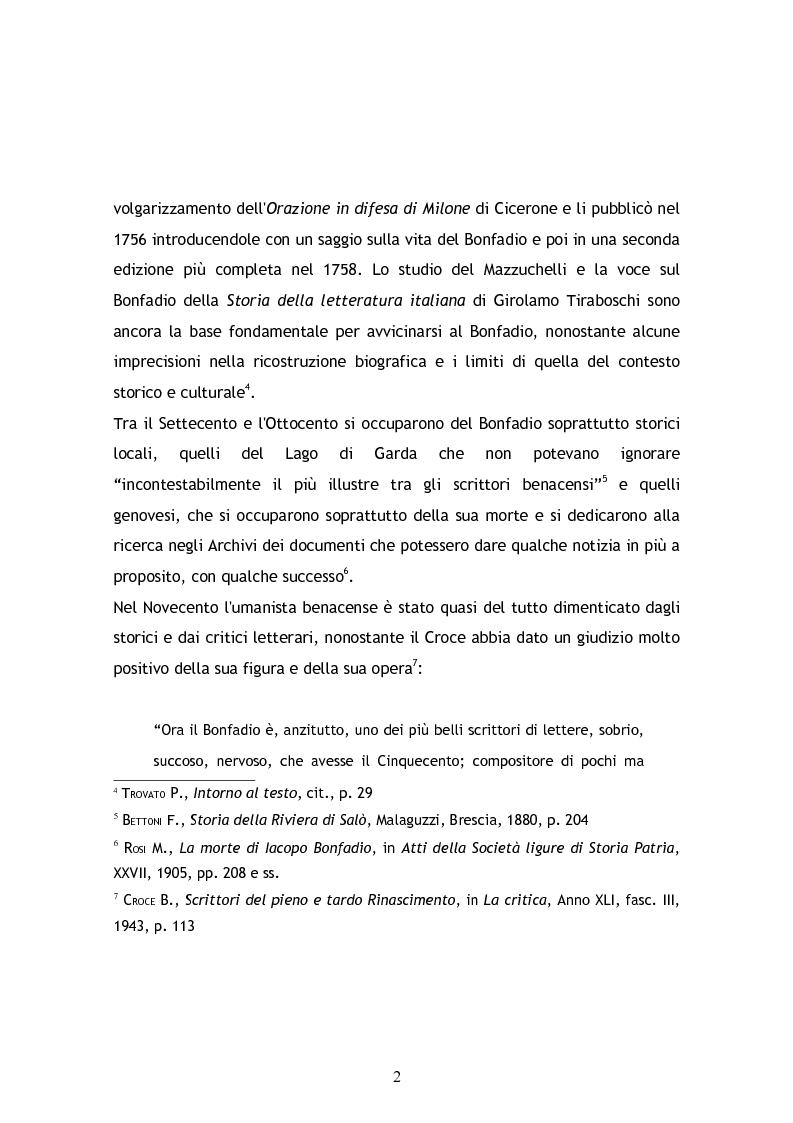 Anteprima della tesi: Jacopo Bonfadio. Le avverse fortune di un umanista del Cinquecento, Pagina 2