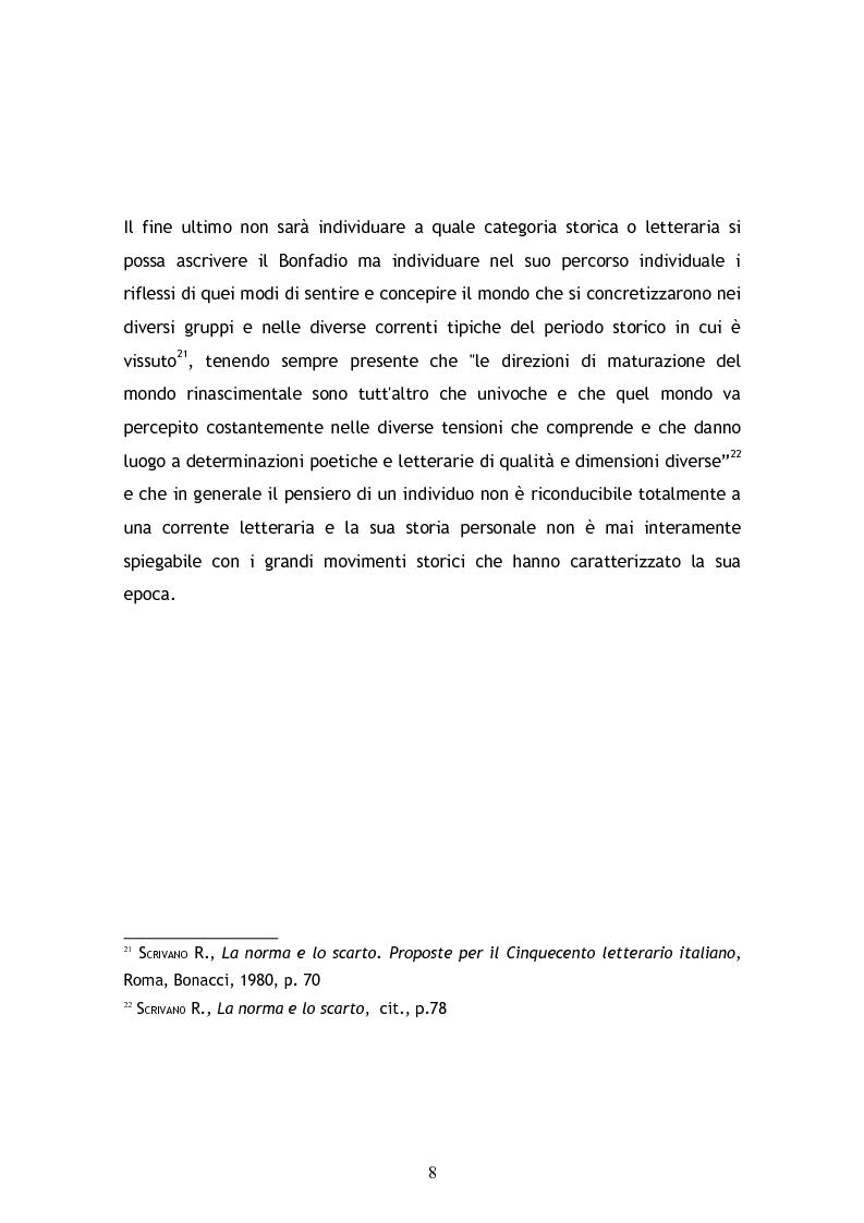 Anteprima della tesi: Jacopo Bonfadio. Le avverse fortune di un umanista del Cinquecento, Pagina 8