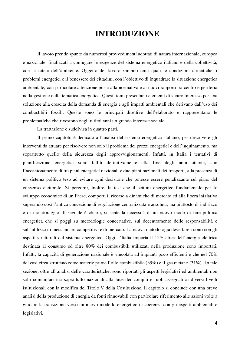 Anteprima della tesi: Il sistema energetico italiano tra tutela dell'ambiente ed esigenze della collettività, Pagina 1