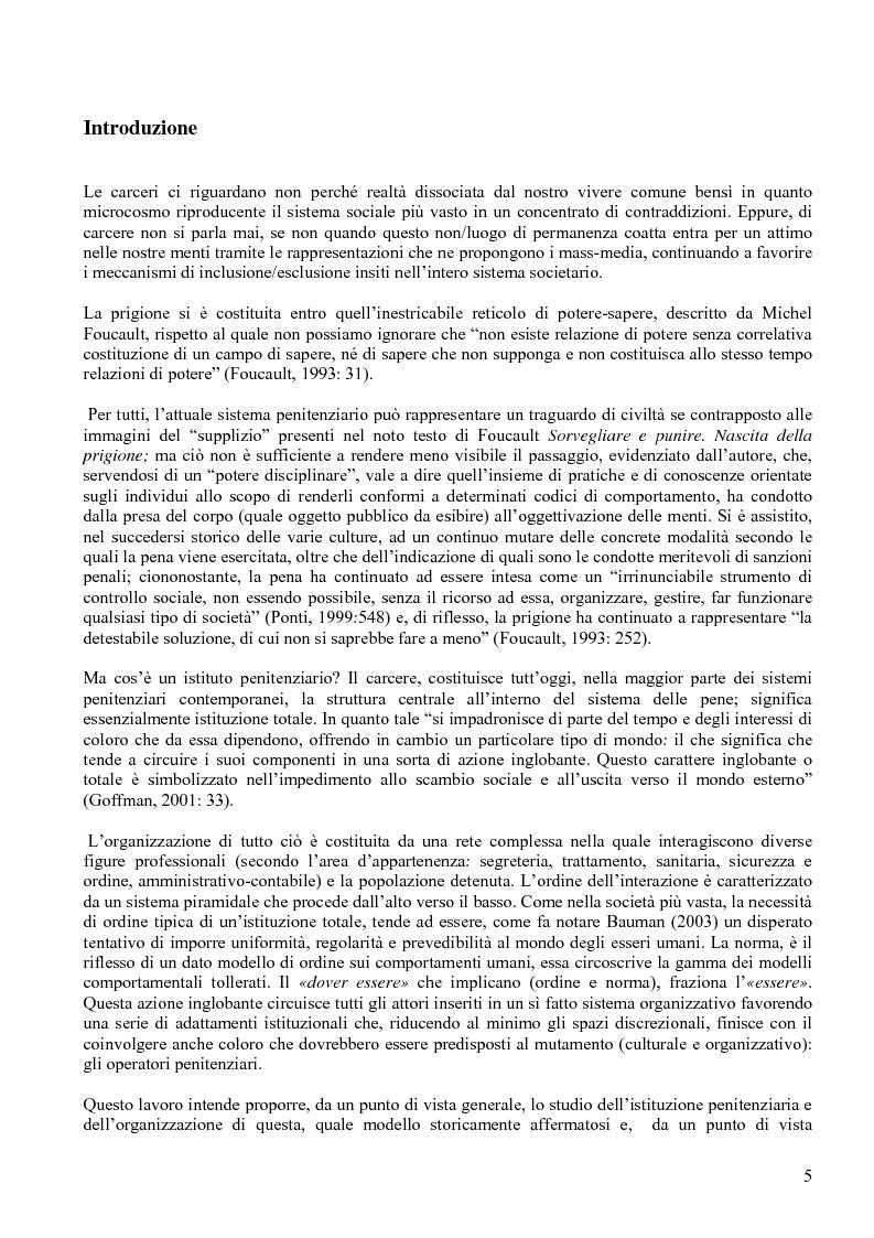 Anteprima della tesi: Istituzione penitenziaria e organizzazione: il ruolo delle risorse umane nelle interazioni con i detenuti, Pagina 1